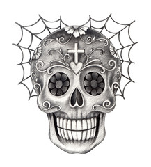 Skull art day of the dead.Art design skull head mix cobweb action smiley face day of the dead festival hand pencil drawing on paper.