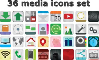 36 Media icons set