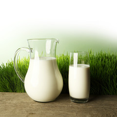 Glass of milk and jar on flower meadow
