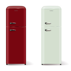 Two modern refrigerators in retro style