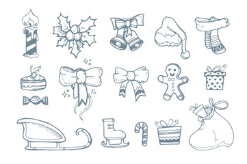 Vector illustration set of hand drown ellements for Christmas