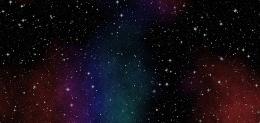 New panoramic looking into deep space. Dark night sky full of stars. Secrets of the universe.