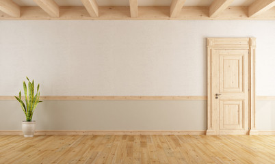 Empty Living Room In Country Style