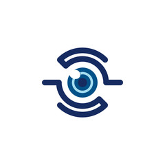 Abstract One Monocular Eye Sharing Platform Logo Template