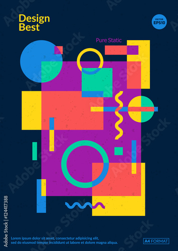 Static design poster. Simple colorful geometric shapes overlap. Eps10  template for poster,brochure