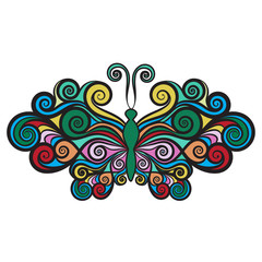 Decorative butterfly with wings curls