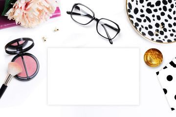 Flat lay. Woman modern background. Mock-up background. Glamour style. Table view