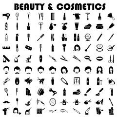 beauty and cosmetics icons set