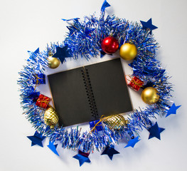 Seasonal mockup for greeting message or lettering. Festive background