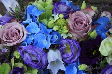 Blue and purple bridal bouquet
