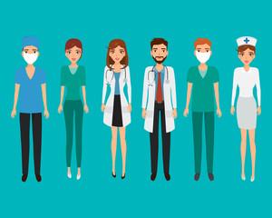 Set of avatar doctor character for medicine. Cartoon vector peop