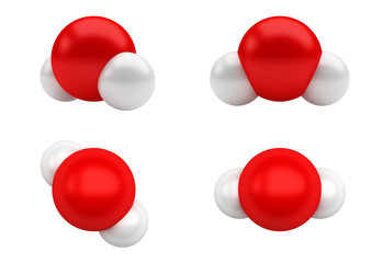 Water Molecules H2O. Chemical structure of a water molecule, H2O.