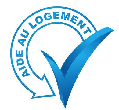 aide au logement sur symbole validé bleu