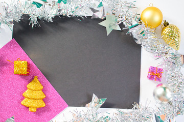 Christmas or New Year background with black, pink and white paper.