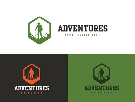 Adventures logo, hiking logo, trekking logo template.