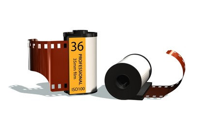 35mm camera photo film canisters isolated on white