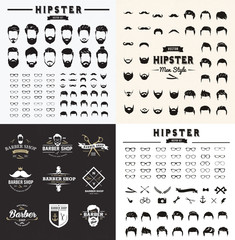 Set of hairstyles, Barber logo  beards and hipster vector element.