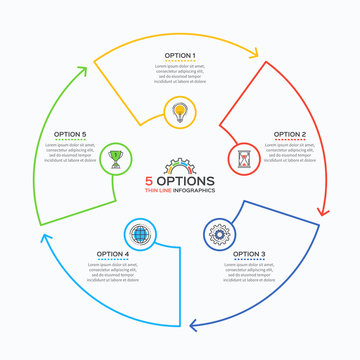 Thin line infographic template with 5 options.