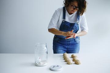 Girl making bagels
