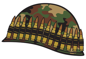 military helmet with ammo belt and camouflage pattern cover
