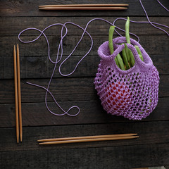 knit handmade handbag from yarn