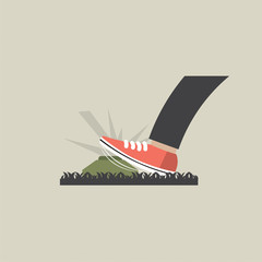 Foot Step On Landmines Vector Illustration