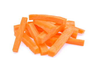 Pile of Carrot sticks, Julienne style isolated on white backgrou