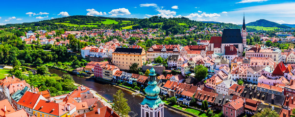 Panoramic aerial view over the old Town of Cesky Krumlov, Czech Republic. UNESCO World Heritage Site