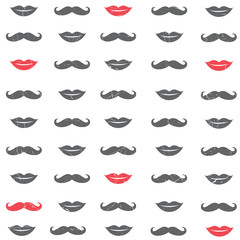 Vector Lip and Mustache Background Illustration