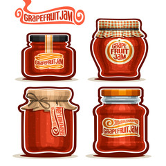 Vector logo Grapefruit Jam in glass Jars with paper lid, rustic Pot home made grapefruit zest jams, twine rope bow, homemade fruit jam jar, jelly pot with label, checkered cloth cap, isolated on white