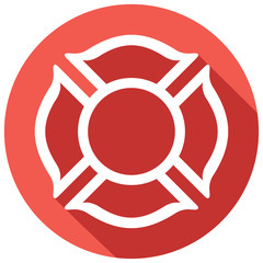 fire department or firefighters maltese cross symbol flat icon