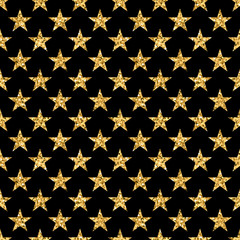 Stars seamless pattern gold and black retro background. Abstract bright golden design for wallpaper, Christmas decoration, confetti, textile, wrapping. Symbol of holiday. Vector illustration