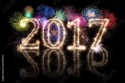 Happy New Year 2017 2016 Sparkler Background With Fireworks And