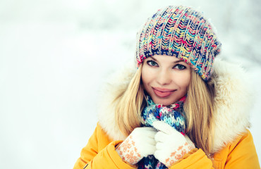 Winter Woman Face happy smiling in knitting hat fashion clothing outdoor Travel Lifestyle snow nature on background