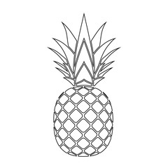 Pineapple with leaf silhouette icon. Tropical fruit isolated on white background. Symbol of food, exotic and summer, vitamin, healthy. Nature logo. Flat concept. Design element Vector illustration