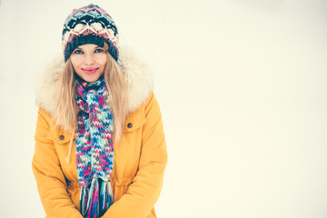 Young Woman happy smiling outdoor wearing hat and scarf enjoy winter snow Travel Fashion Lifestyle