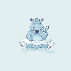 Vector Illustration Emoji character cartoon ballerina Hippopotamus approves with thumb up