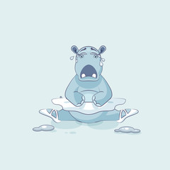 Vector Illustration Emoji character cartoon ballerina Hippopotamus is sitting on the splits and crying