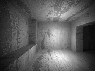 Empty dark concrete room interior. Architecture urban background