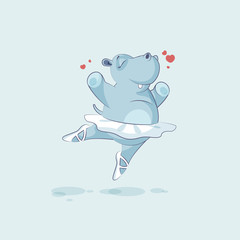 Vector Illustration Emoji character cartoon ballerina Hippopotamus jumping for joy