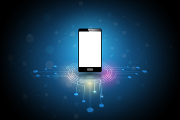 Smart phone with blue background. network connection concept