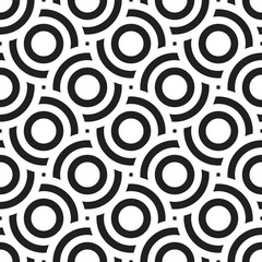 Vector seamless texture. Modern geometric background. Repeated monochrome pattern with concentric circles