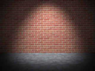 Red Brick Wall With Spot Light. Grunge Vintage Background