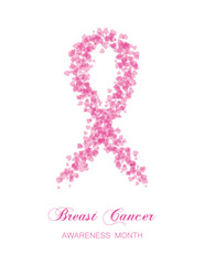 Ribbon from little transparent rink hearts, breast cancer awaren