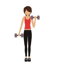avatar woman training with dumbbells over white background. fitness lifestyle design. vector illustration