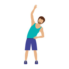 avatar man stretching with sport clothes over white background. fitness lifestyle design. vector illustration