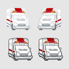Ambulance Vehicles Vector Set