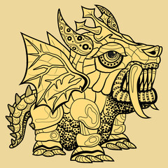 hand draw of dragon in zentangle style