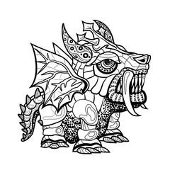 Hand draw ornamental dragon outline illustration
