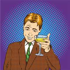 Business man with glass of champagne celebrates closed deal. Cheers and party concept vector illustration in retro pop art comic style